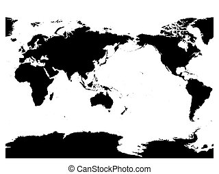 Australia and Pacific Ocean centered world map. High detail black silhouette on white background. Vector illustration