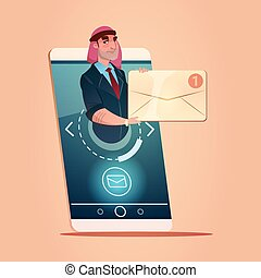 Arab Businessman Hold Envelope Email Message Cell Smart Phone Network Communication