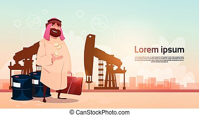Rich Arab Business Man Oil Trade Pumpjack Rig Platform Black...