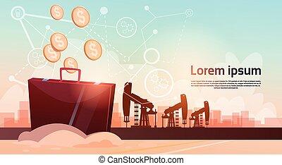 Pumpjack Oil Rig Crane Platform Black Wealth Concept Flat...