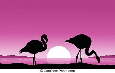 Flamingo on riverbank scenery silhouettes vector...