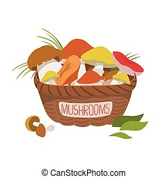 Busket full of wild mushrooms. Colorful cartoon illustration...