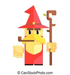 Cartoon garden gnome with smoking pipe. Fairy tale, fantastic, magical colorful character