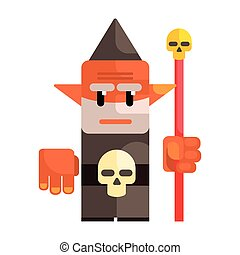 Cartoon dwarf holding a staff with a skull. Fairy tale, fantastic, magical colorful character