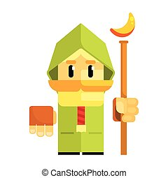 Cartoon dwarf in a green cape with staff in his hands. Fairy tale, fantastic, magical colorful character