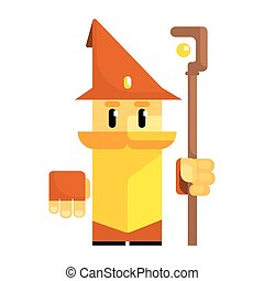 Cute cartoon gnome in a brown hat with a staff in his hands....