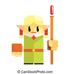 Cartoon dwarf gnome wearind hat with a staff in his hands. Fairy tale, fantastic, magical colorful character