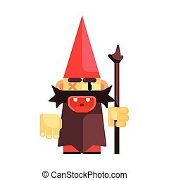 Dwarf in a red hat grimly grins. Fairy tale, fantastic, magical colorful character