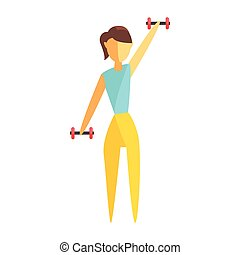 Young woman exercising with dumbbells. Colorful cartoon character