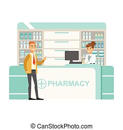Man In Tie And Cardigan In Pharmacy Choosing And Buying...