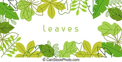 Natural banner with stylized green leaves. Spring or summer...