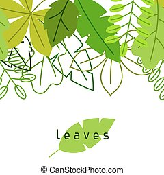 Seamless floral border with stylized green leaves. Spring or summer foliage