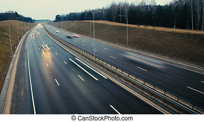 City freeway in timelapse. Vilnius, Lithuania. - City...