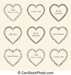Valentine s Day vintage frames on background