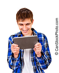 Young Man with a Tablet - Cheerful Young Man with Tablet...