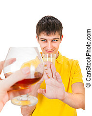 Young Man refuse an Alcohol - Young Man with a Fruit Juice...