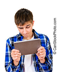 Young Man with a Tablet - Troubled Young Man with Tablet...