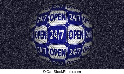 Decorative blue and white video with rotating sphere and...