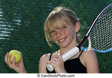 Young Tennis Player - Confident Elementary Age Girl with...