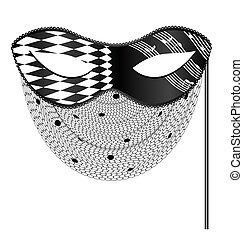 abstract white black mask and veil - white background, black...