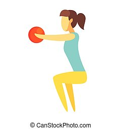 Girl doing squatting exercise with a ball in her hands. Colorful cartoon character