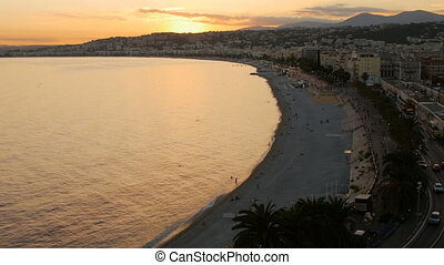 Dusk Night Lights Aerial Panoramic View Nice French Riviera France.