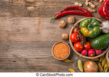 Variety of vegetables, space for text left, topview