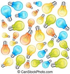 Multi-colour light bulbs on white background. Vector illustration
