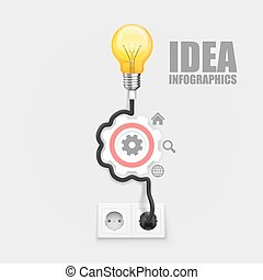 Power socket lamp gear, on a white background. Vector...