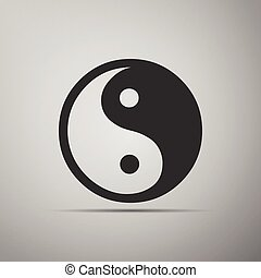 Yin Yang symbol icon on grey background.
