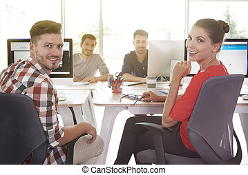 Group of young white collar workers