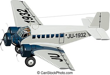 Cartoon Retro Airplane - Vector Cartoon Retro Plane....