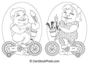 two fat people on bicycles, black and white image