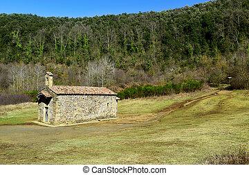 Santa Margarida Church in Santa Margarida Volcano in Olot,...
