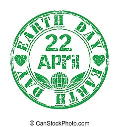 Earth Day. April 22. Green grunge rubber stamp with leaves,...