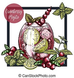 Square framed card with cranberry mojito with lime and...