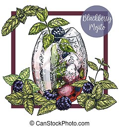 Square framed card with blackberry mojito with blackberries,...