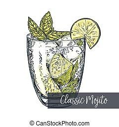 Classic mojito, colorful vector sketch - Classic mojito,...