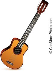 Six stringed acoustic guitar musical instrument. Isolated on...