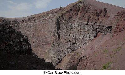 The crater of Vesuvius - Movie Mount Vesuvius in Italy. The...
