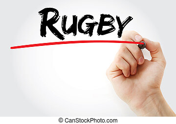 Hand writing Rugby with marker, sport concept background