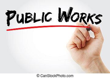 記號, 公眾, 手, 工作, 寫