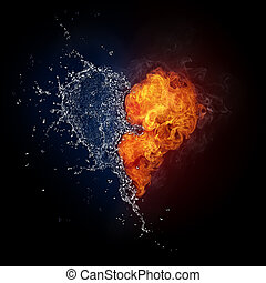 Heart in Fire and Water Isolated on Black Background...
