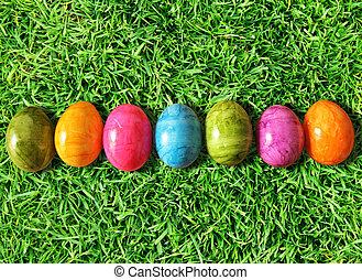 Easter eggs on grass - Easter eggs on green grass