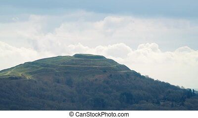 Ancient Hill Fort Remains With Clouds Passing Behind - Wide...