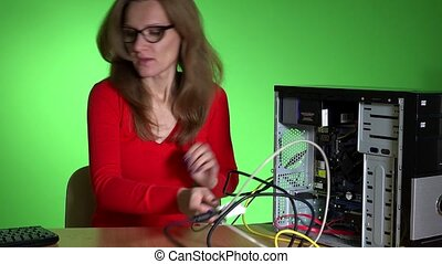 Worried business woman talking phone with computer support...