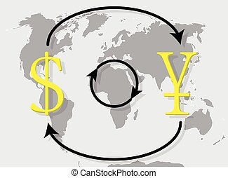 Currency exchange japanese yen dollar on world map...