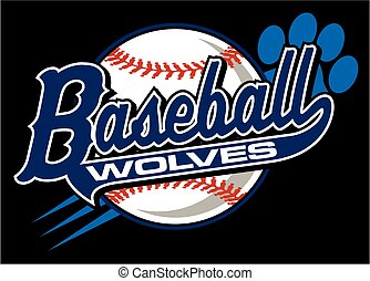 wolves baseball team design in script with paw print for...