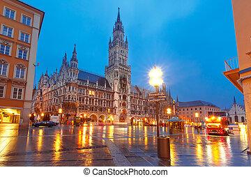 Marienplatz square at night in Munich, Germany - Marienplatz...