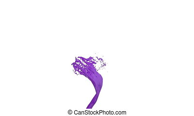 whirlwind of violet liquid like car paint on white background. Beautiful colored paint is whirling. Isolated transparent vortex of liquid 3d animation with alpha matte. Version 4.